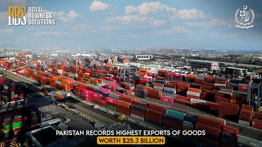 Pakistan Records Highest Exports of Goods Worth $25.3 Billion